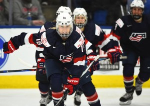 PLYMOUTH, MICHIGAN - MARCH 31: USA's Gigi Marvin #19 skates to the bench with teammates after a third period goal against Canada during preliminary round action at the 2017 IIHF Ice Hockey Women's World Championship. (Photo by Matt Zambonin/HHOF-IIHF Images)